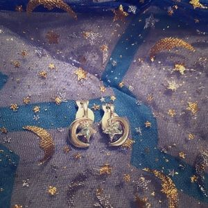 Moon and star clip on earrings